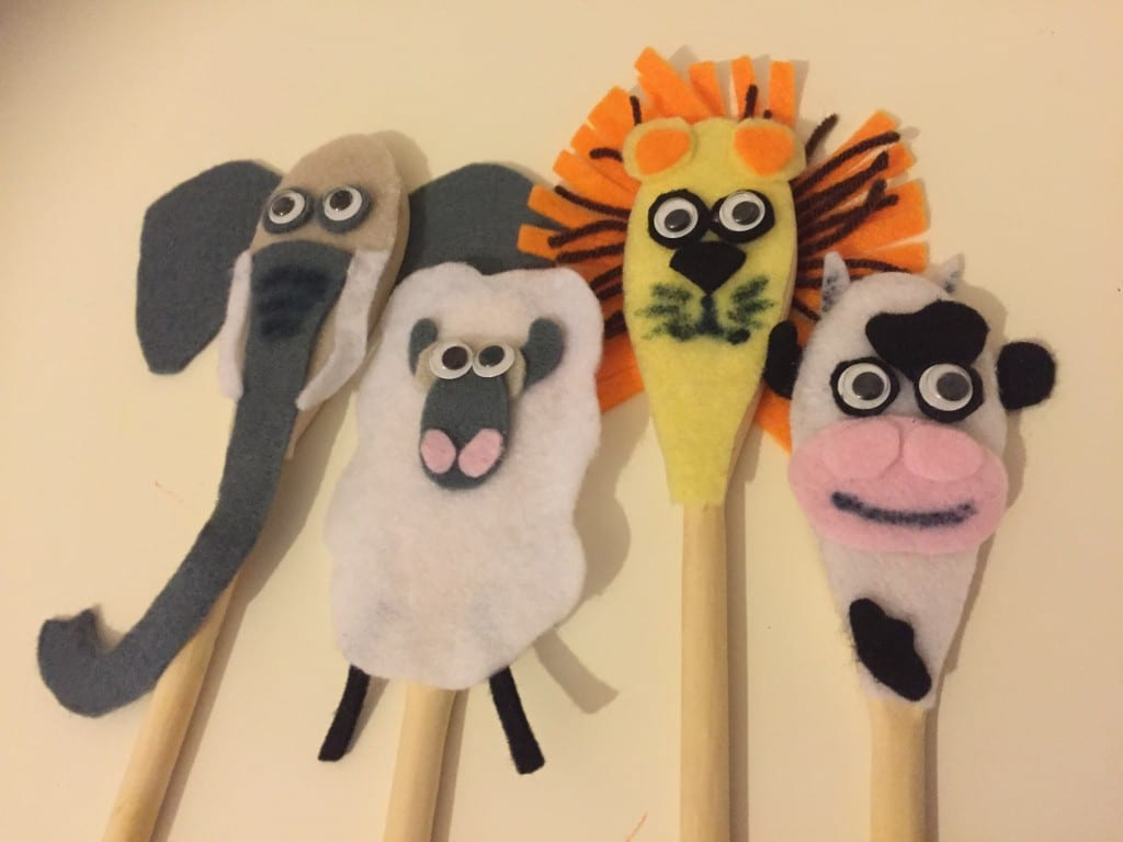 Finished wooden spoon animals