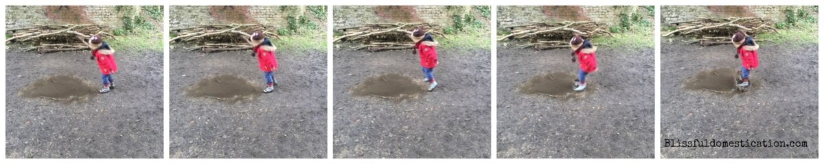 Jumping in muddy puddle