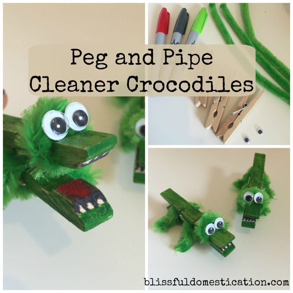 Peg And Pipe Cleaner Crocodiles Blissful Domestication