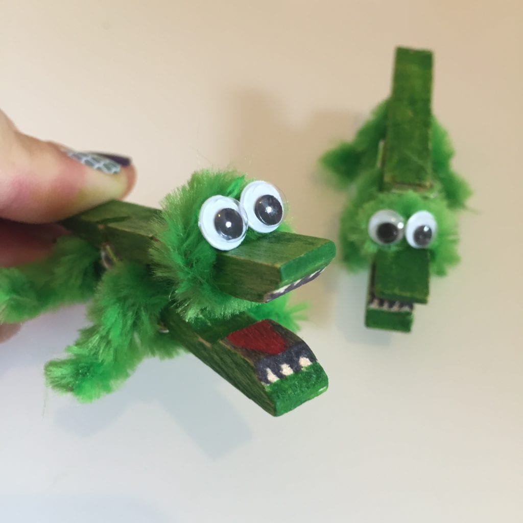 Peg and Pipe Cleaner Crocodiles