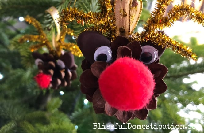 Pine Cone Reindeer Christmas Decorations