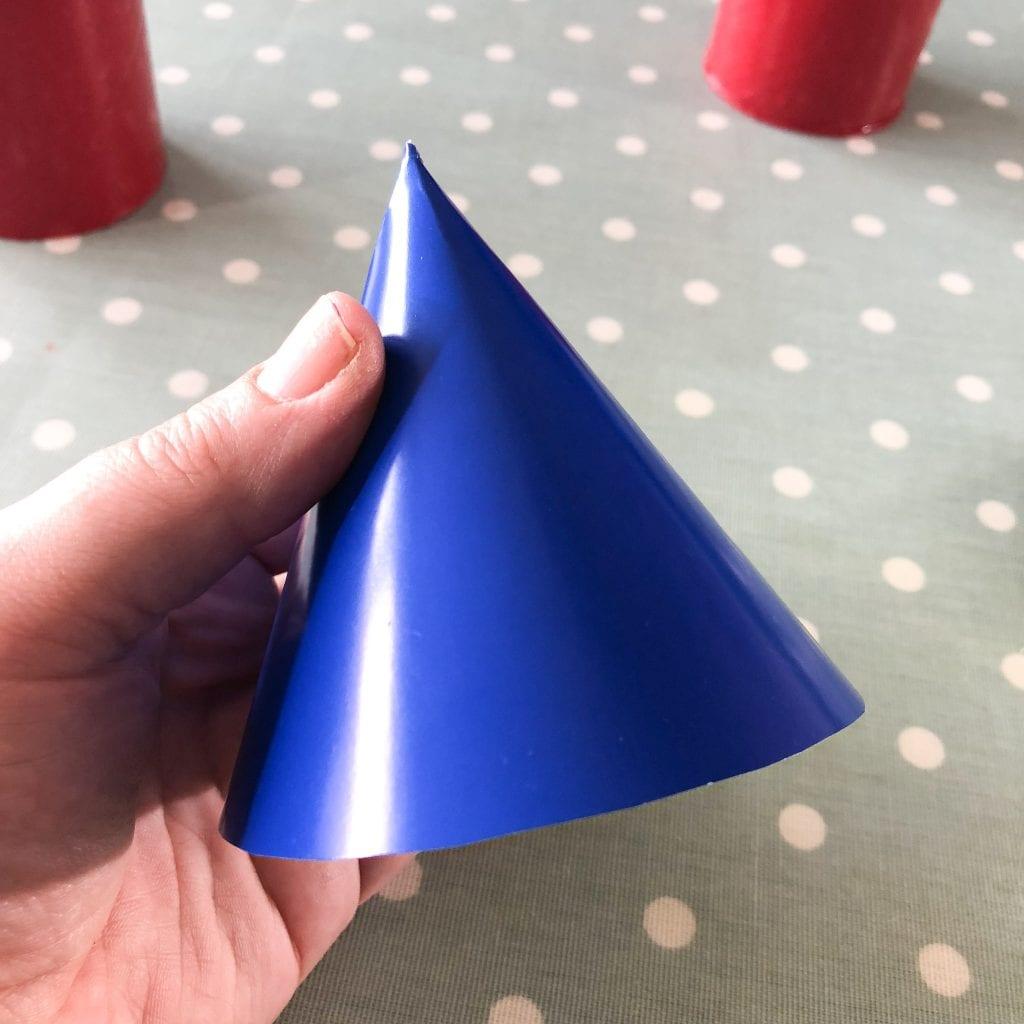 Blue cardboard cone