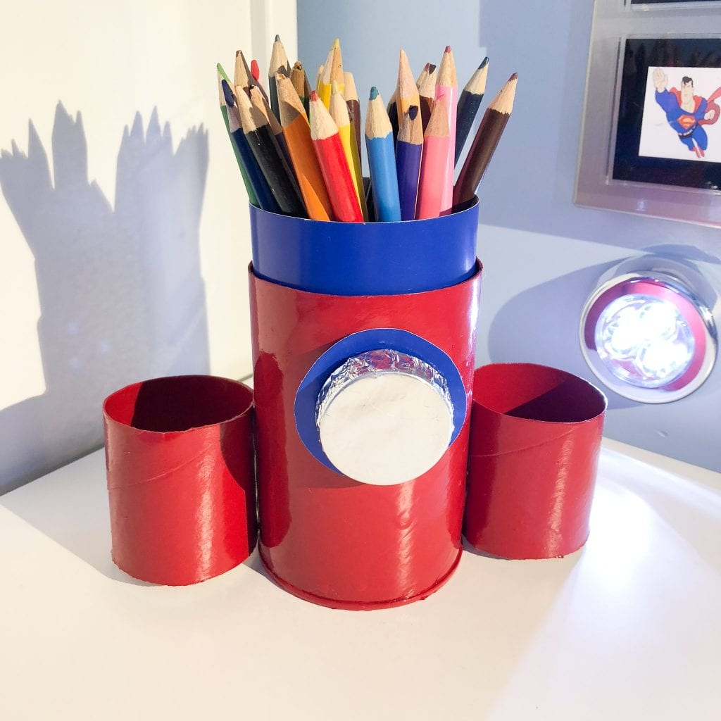 Finished space rocket desk tidy with pens in