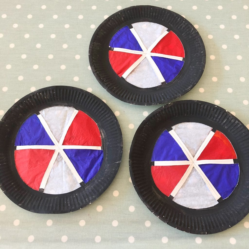 3 finished Tricolour wheels