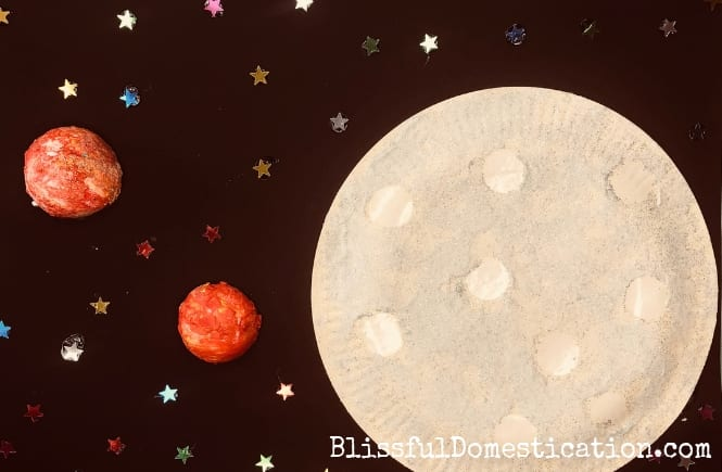 Puffy Paint Paper Plate Moon Craft