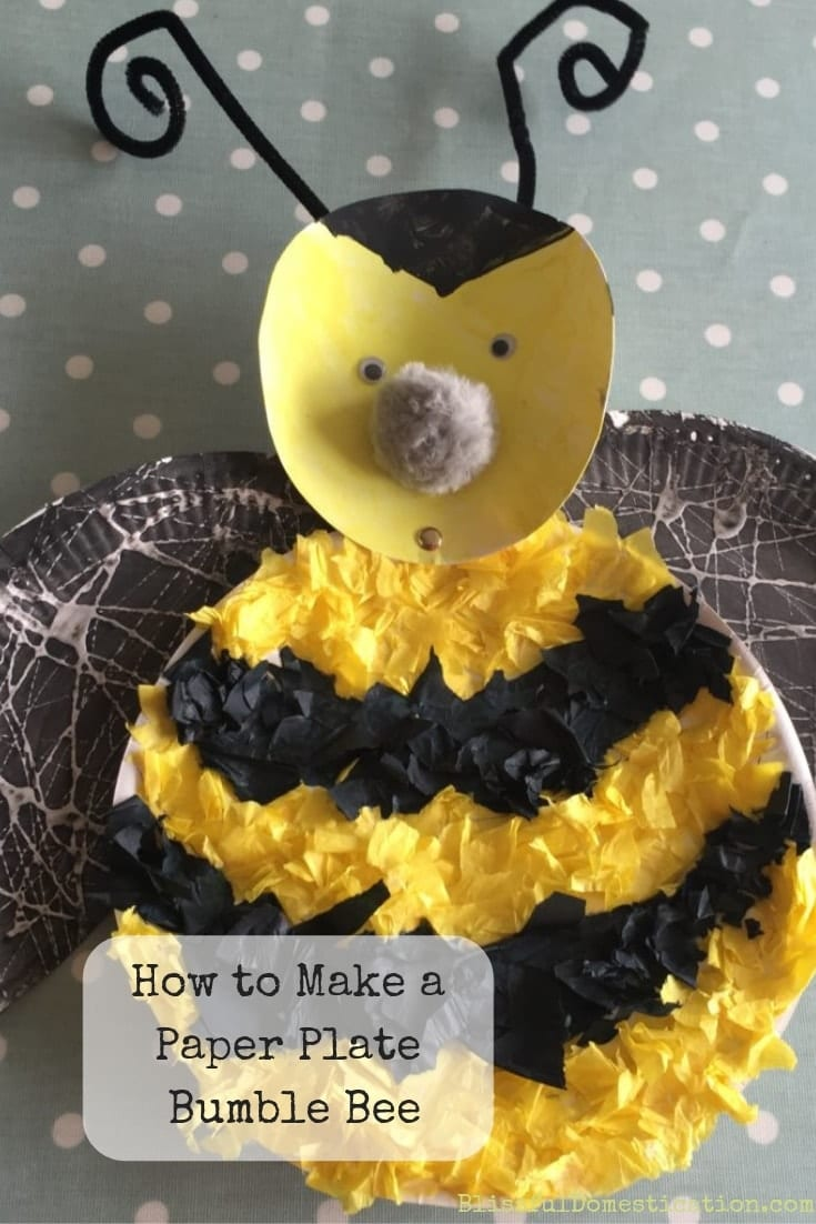 How to make a paper plate bumble bee pin