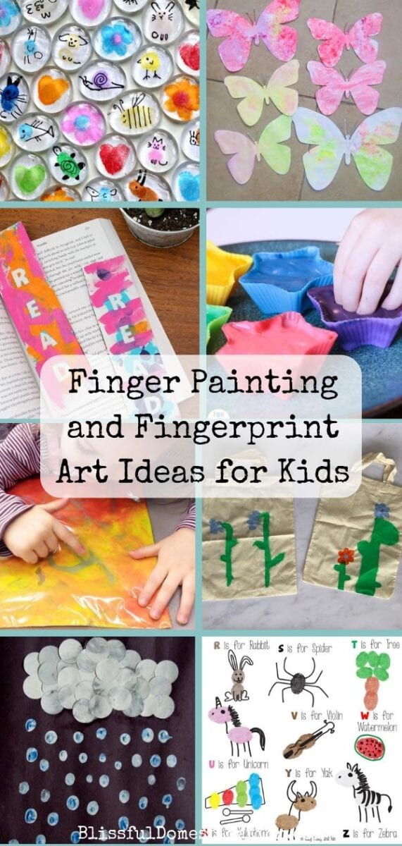 A pin of a collection of finger painting and fingerprint art ideas for kids of all ages.