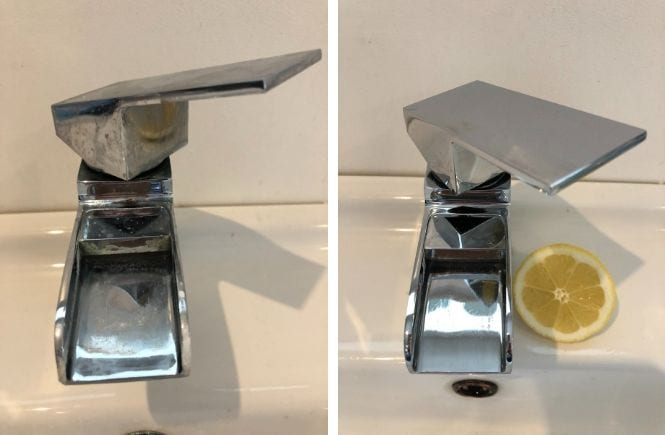 showing before and after pictures of a tap cleaned with a lemon to remove limescale, another one of the fab clenaning hacks