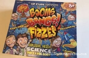 The outside of the box of Booms, Bangs!, Fizzes by John Adams