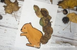 A leaf collage of a squirrel, where the tail is made up of leaves stuck on a printable template.