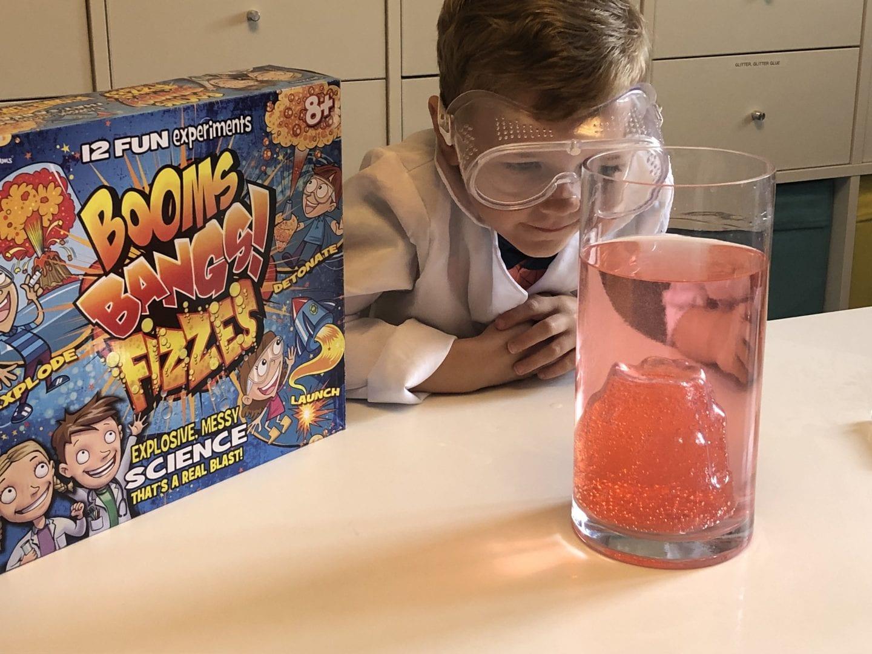 Oliver watching his 'Erupting Underwater Volcano' experiment
