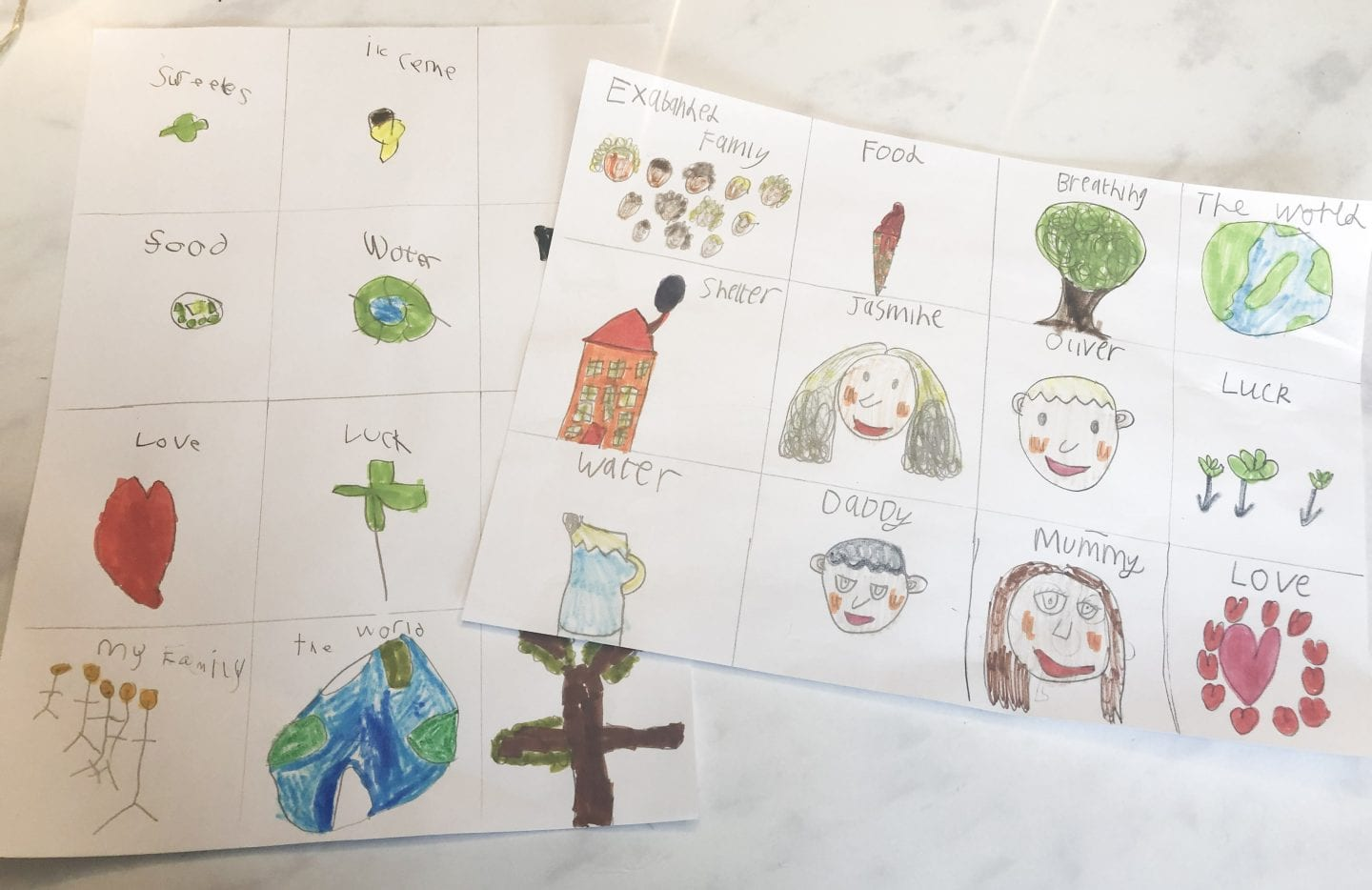 hand drawn kids drawings of what they are grateful for