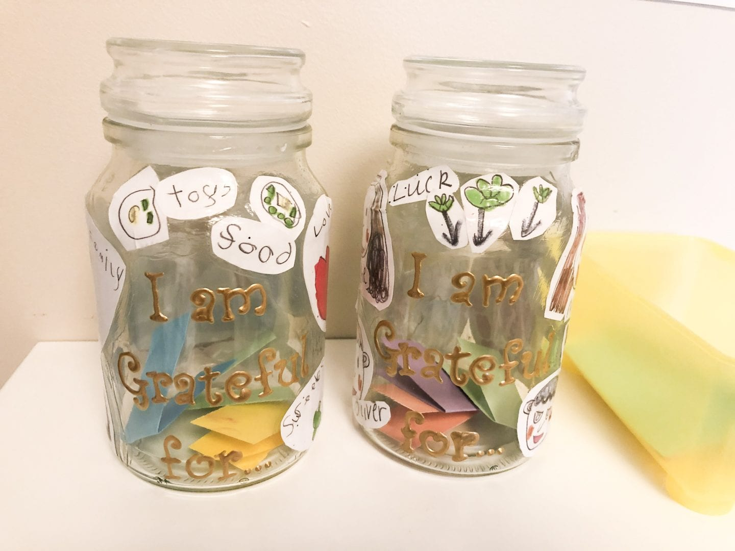 The finsihed gratitude jars