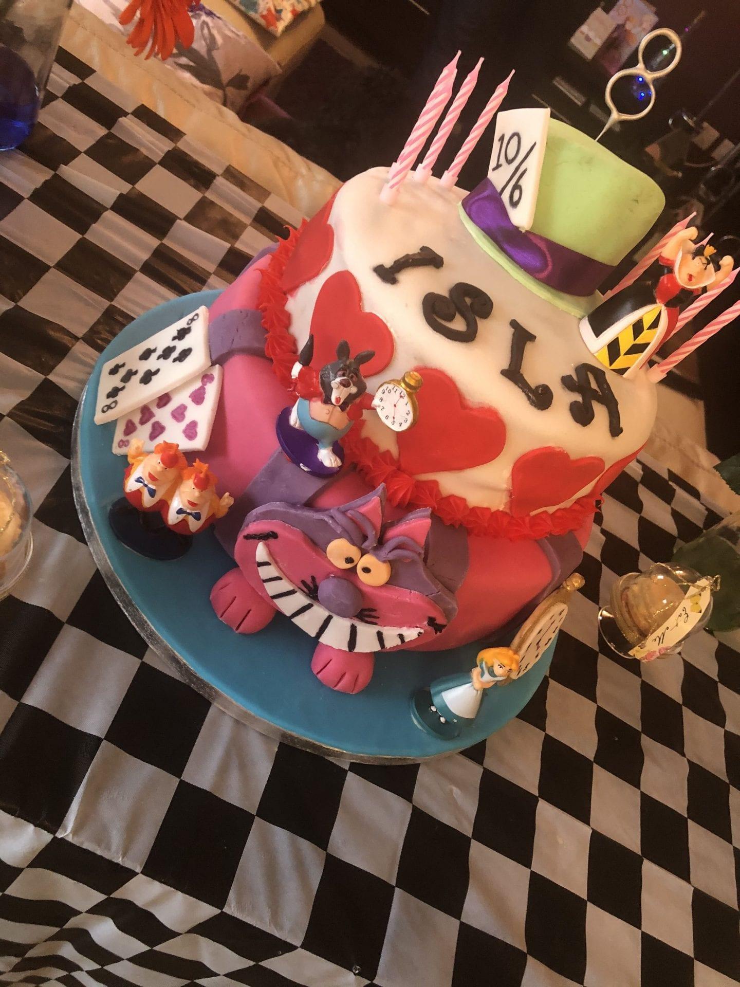 Alsion in Wonderland themed 3 tier birthday cake