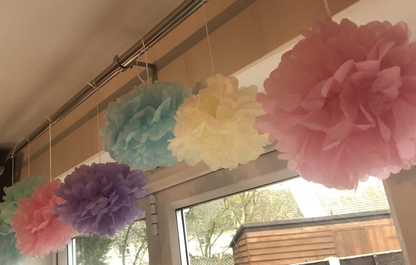 A row of pastel coloured tissue pom poms