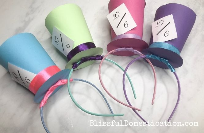 The finished Mad Hatter Headbands in 4 different colours